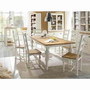 Table 200x100 et 6 chaises LANDHAUS en bois Mindi blanc et miel massivum Achat / Vente table