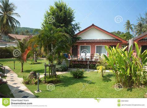 Bungalow In Tropical Garden In Thailand Stock Photo