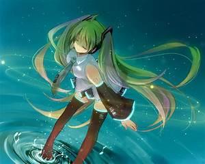 Green, Hair, Hatsune, Miku, Headphones, Long, Hair, Skirt, Thighhighs, Tie, Twintails, Vocaloid, Water