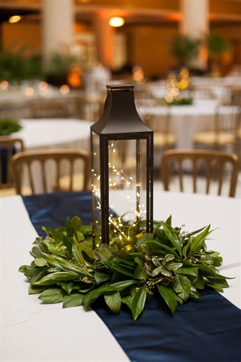 Lantern Centerpiece With Simple Greenery Wedding Goodies