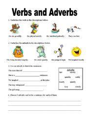 verbs  adverbs worksheet