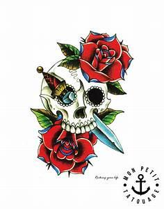 Dessin Tete De Mort Avec Rose : tatouage temporaire t te de mort roses couleur mon petit tatouage temporaire ~ Melissatoandfro.com Idées de Décoration