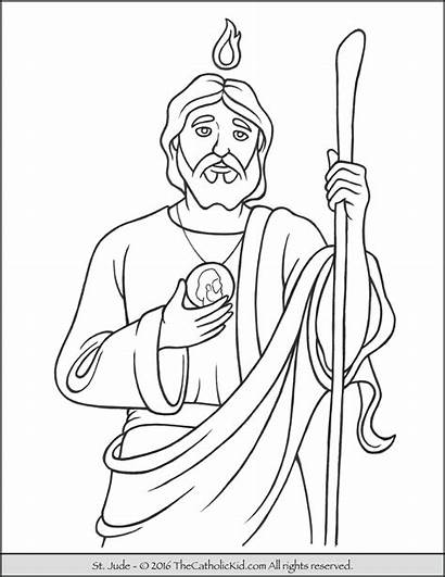 Jude Coloring Saint Pages Catholic Saints Printable