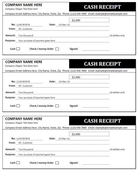 cash receipt  invoice templates sales invoices