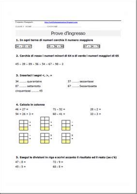 Test Ingresso Prima Media Grammatica by Verifiche Matematica Scuola Primaria Prova D Ingresso