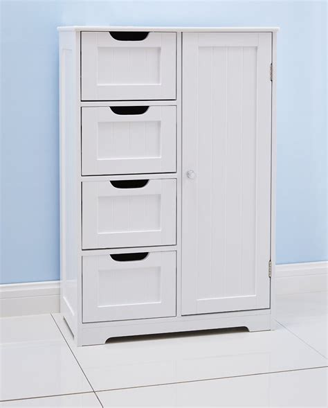 White Bathroom Floor Cabinet Freestanding With 4 Drawers