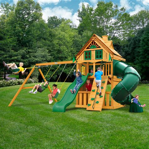Backyard Play Set - wooden swing set outdoor slide backyard play swingset