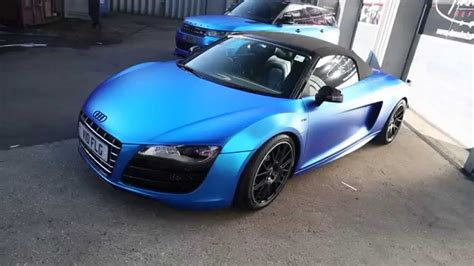 audi r8 wrapped audi r8 spyder wrapped in satin chrome blue youtube