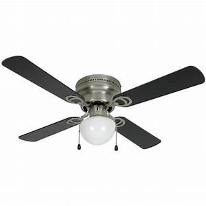 Satin nickel quot hugger ceiling fan w light kit