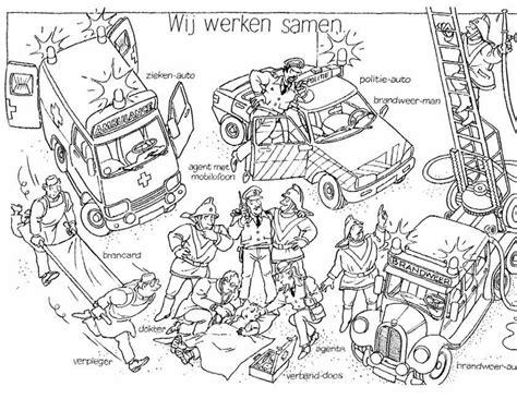 Kleurplaat Ziekenauto by Kleuren Nu Mooi Overzichtsplaatje Hulpdiensten