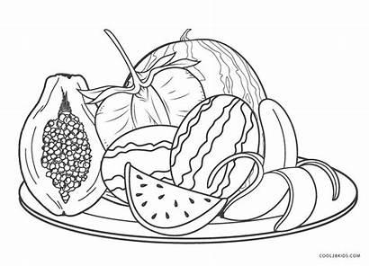 Coloring Fruit Fruits Toddlers Colorir Vegetables Printable