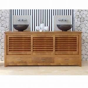 Meuble Salle De Bain Bas : meuble bas de salle de bain teck java ~ Teatrodelosmanantiales.com Idées de Décoration