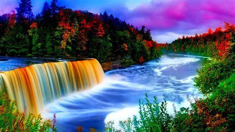 Wallpaper Of Waterfall by Beautiful Waterfall Wallpaper 1366 768 Wallpapers