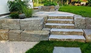 Gartenwege Aus Kies : stufen aus muschelkalk mit einem sch nen trittma wurden in die natursteinmauer zeitlos ~ Sanjose-hotels-ca.com Haus und Dekorationen
