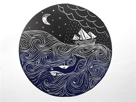 black and white linoleum seas lino cut on behance