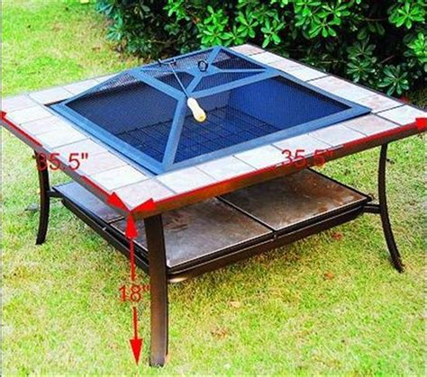 table outdoor pit fire metal 36 square inch stove patio garden firepit