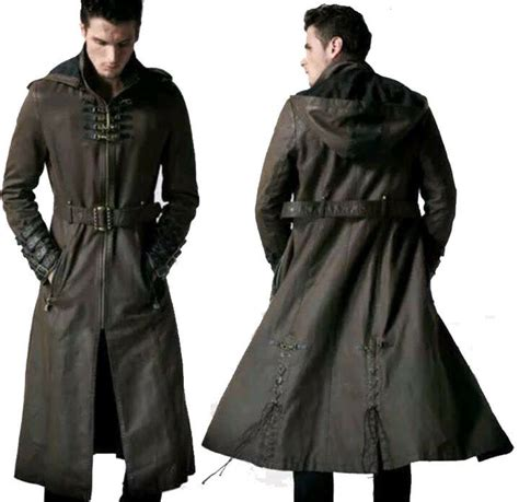 Men Gothic Long Coat Steampunk Hooded Leather