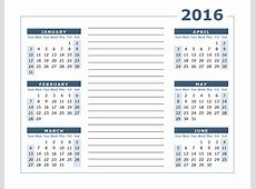 2016 Yearly Calendar Two Page Free Printable Templates