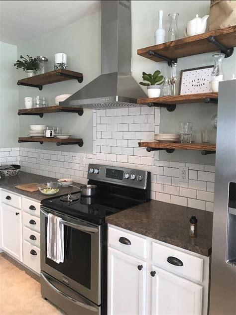 set    depth open kitchen shelves industrial