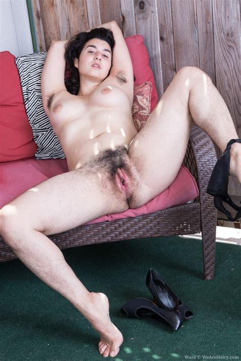 Wearehairy Wara Wara Strips Naked And Has Fun On Her Red