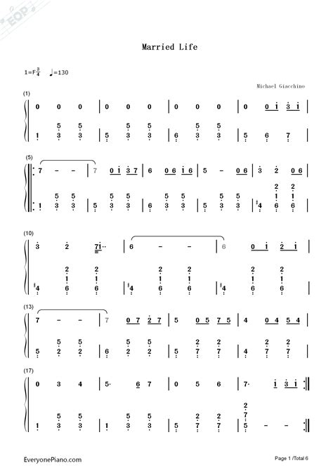} free married life piano sheet music is provided for you. Married Life-Up OST-Michael Giacchino Numbered Musical Notation Preview