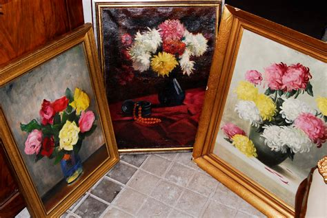 dipinti di fiori a olio lotto di dipinti ad olio raffiguranti vasi di fiori
