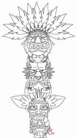 Totem Pole Deviantart Coloring Pages Printable Native Craft American Poles Tiki sketch template