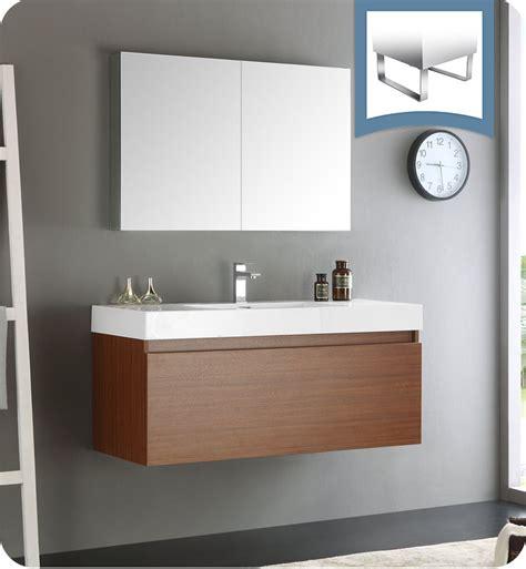 designer bathroom vanities cabinets fresca fvn8011tk mezzo 48 quot teak wall hung modern bathroom