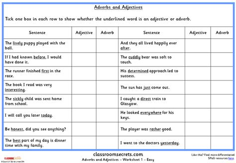 adverbs and adjectives ks2 spag test practice classroom
