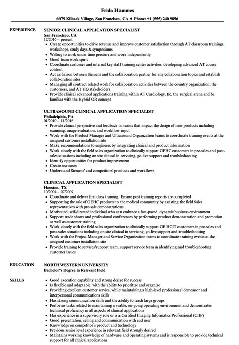 Clinical Documentation Specialist Resume by Clinical Application Specialist Resume Sles Velvet
