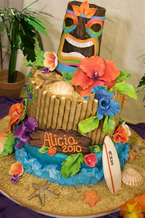 Hawaiian Cake Decorations by Luau Beach Graduation Cake Cake Decorating Community