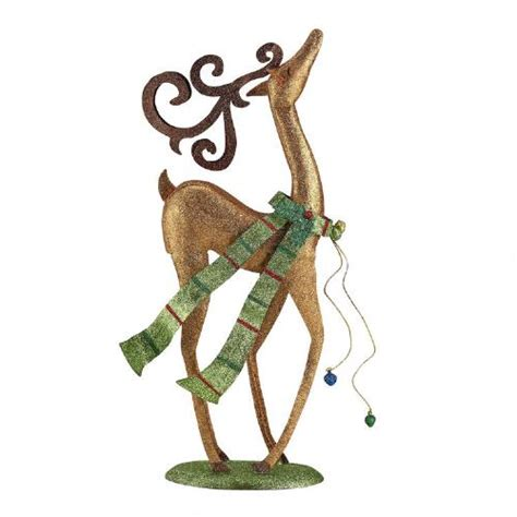 glitter reindeer with green scarf christmas tree shops