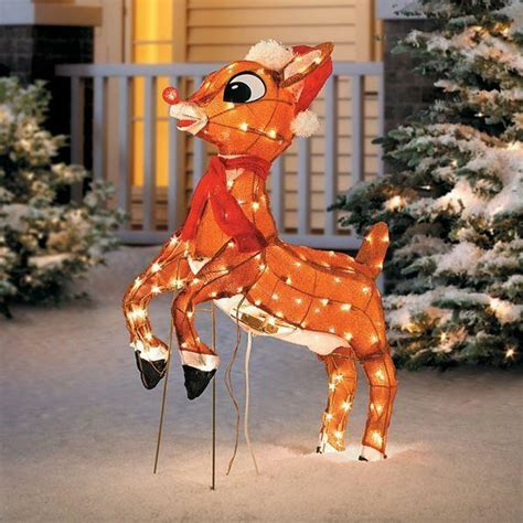 sale outdoor pre lit lighted animated rudolph reindeer