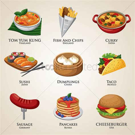 collection  food   world vector image