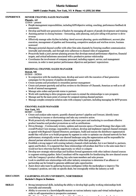 Channel Sales Manager Resume Sle by Channel Sales Manager Resume Sles Velvet