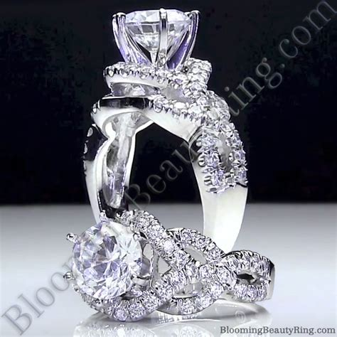 designer wedding rings 6 prong beautiful crossover pave set designer engagement