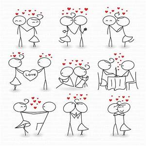 Stick Figure People Love Wedding Couple Meeting Cute
