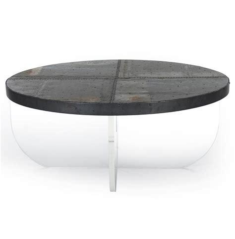 round plexiglass table top blaine modern acrylic zinc top round coffee table kathy