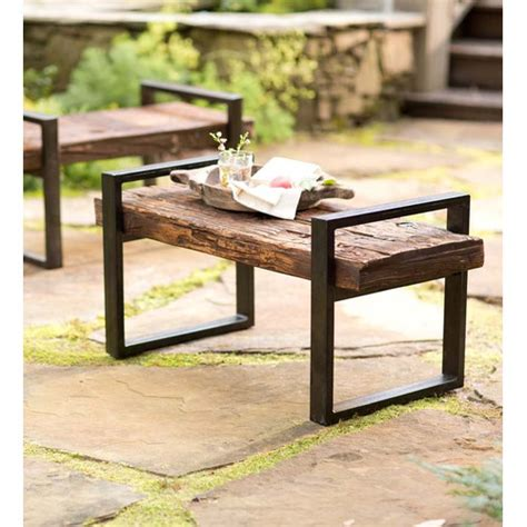 plow hearth reclaimed wood and iron outdoor garden bench
