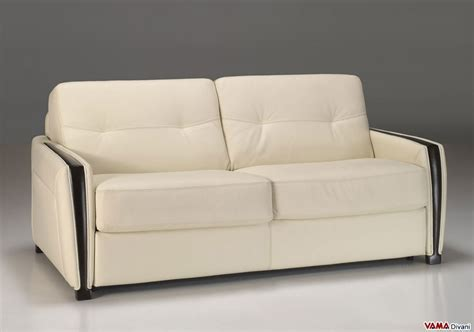 Divano Letto 160 Cm : Double Sofa Bed In Leather With Wooden Finishing