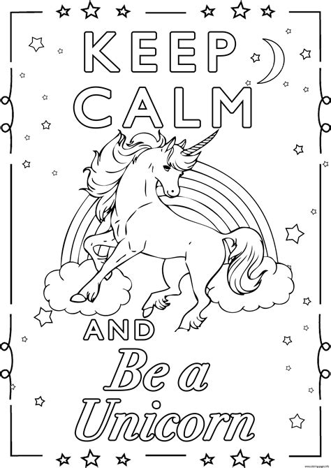 calm    unicorn  coloring pages printable