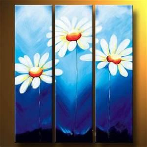 Three Daisies-Modern Canvas Art Wall Decor-Floral Oil