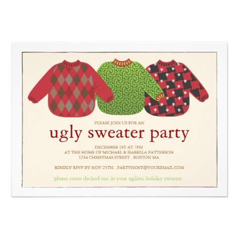 ugly christmas sweater party invitation 5 quot x 7 quot invitation