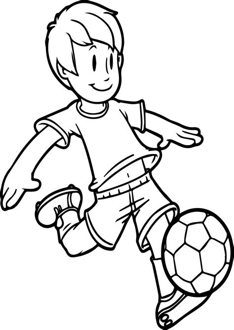 cartoon boy playing soccer kid ball  easy coloring page