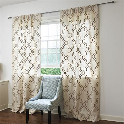 trellis pattern curtains burlap crewel trellis panel 84 quot traditional curtains