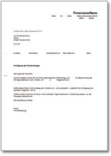 Kündigung Pachtvertrag (fristgemäß Durch Den Pächter) • De