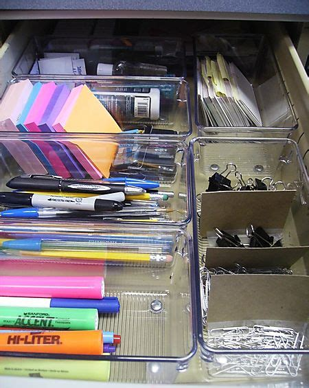 Desk Drawer Organizer Ideas by Organized Desk Drawer Clear Containers Organized