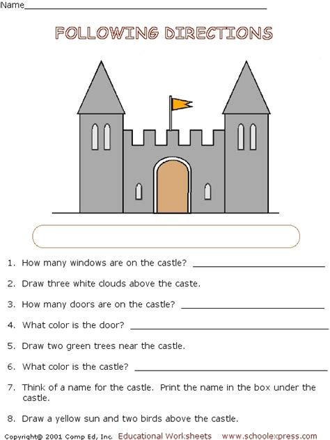 following directions activity castle worksheet for 2nd