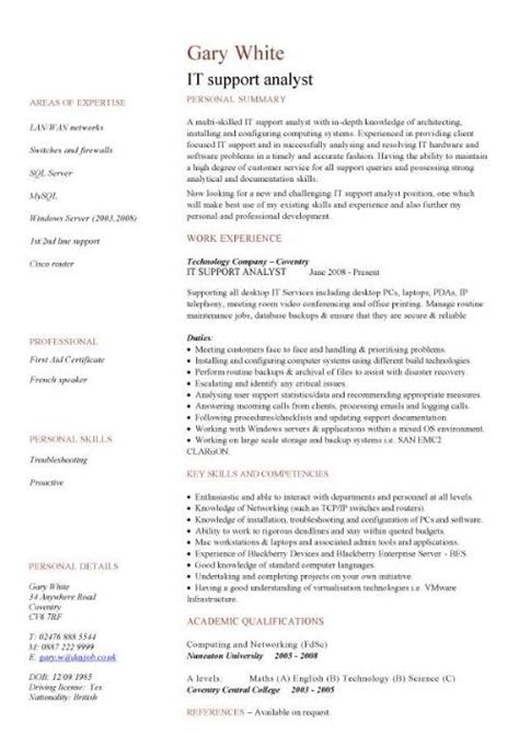 it support analyst cv sle show your key strengths and