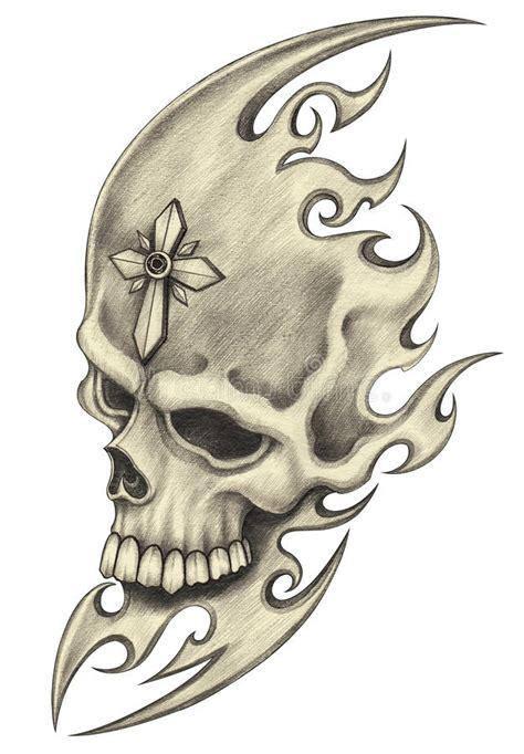 Art skull tattoo stock illustration Illustration of
